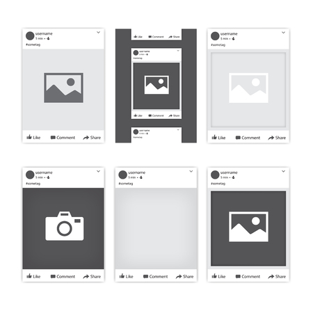 Ilustración de Set of different social network photo frames for Facebook. Tepmlates of photo frames for different apps and mobile gadgets. Vector illustration. - Imagen libre de derechos
