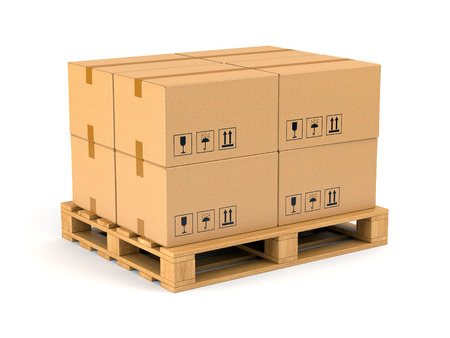 Photo pour Cardboard boxes on wooden pallet isolated on white background. Warehouse, shipping, cargo and delivery concept. - image libre de droit