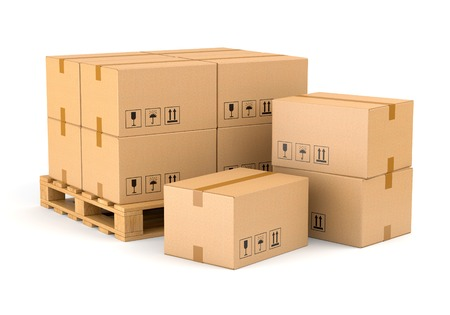 Photo pour Cardboard boxes and wooden pallet isolated on white background. Warehouse, shipping, cargo and delivery concept. - image libre de droit