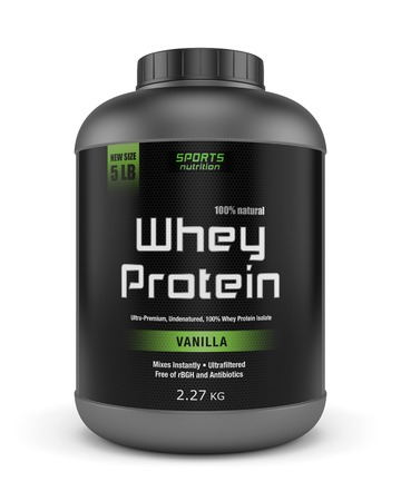 Photo for Sports nutrition, bodybuilding supplements: jar of vanilla flavored whey protein isolated on white background. - Royalty Free Image