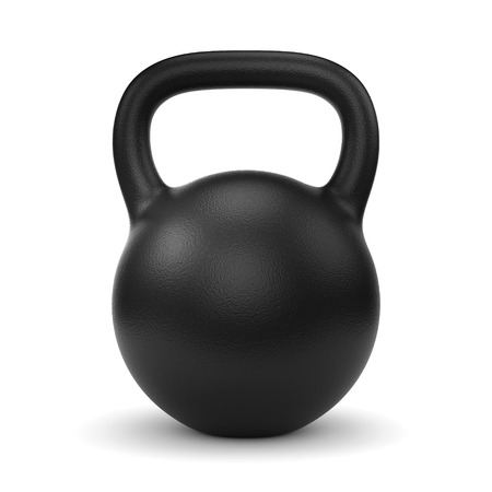Photo for Black metal gym weight kettle bell isolated on white background - Royalty Free Image