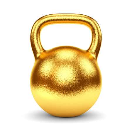 Photo for Gold gym weight kettle bell isolated on white background. Sports award, trophy and championship concept. - Royalty Free Image