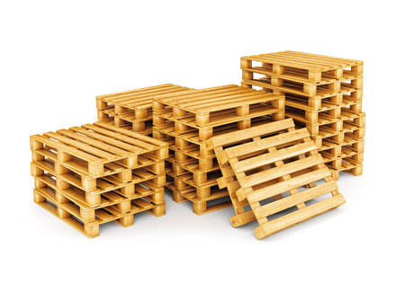 Photo for Stack of wooden pallets isolated on white background. Cargo, shipping and warehouse concept. - Royalty Free Image