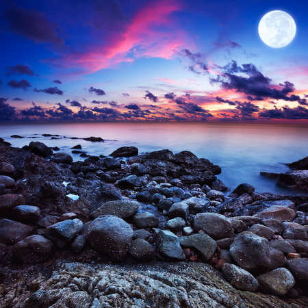 Foto de Full moon fantasy seascape. Long exposue shot, square composition. - Imagen libre de derechos