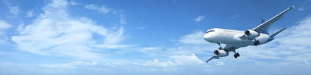 Panoramic composition of a jet aircraft in a blue sky