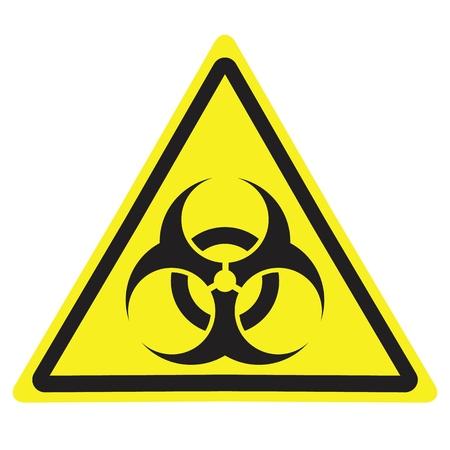 Ilustración de Yellow triangle warning sign with Biohazard symbol. - Imagen libre de derechos