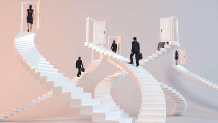 Foto de 3D character goes on the stairs to reach the goal or arrive to his destination - Imagen libre de derechos