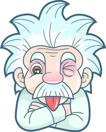 Illustration pour cartoon funny Einstein shows his tongue - image libre de droit
