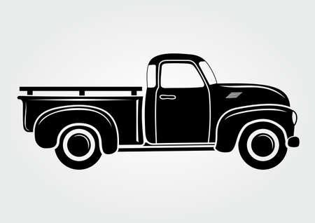 Illustrazione per Vintage pickup, truck. Vector illustration.  Retro transport vehicle - Immagini Royalty Free