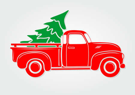 Ilustración de Christmas greeting card. Vintage pickup, truck with Christmas tree. Vector illustration. - Imagen libre de derechos