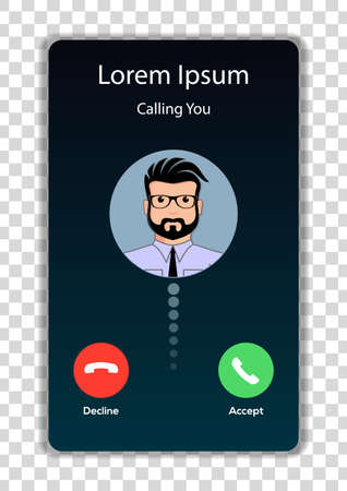 Illustration pour Screen of smartphone with incoming call. Vector illustration. - image libre de droit