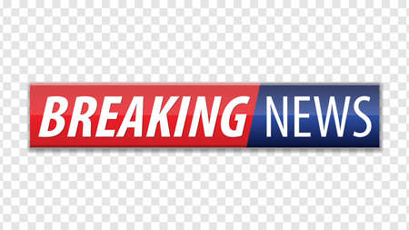 Illustration for Breaking news. Red blue banner with white text isolated on transparent background. Vector illustration. - Royalty Free Image