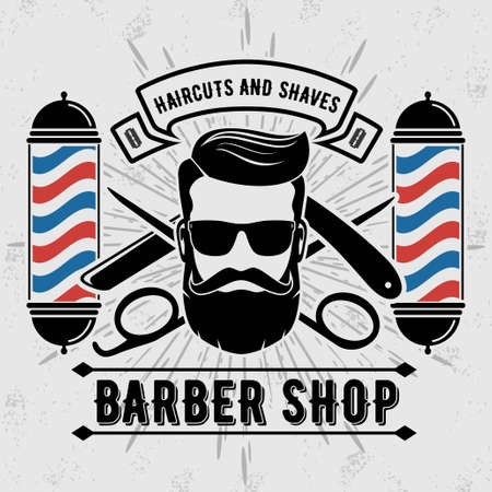 Illustration pour Barbershop with barber pole in vintage style. Vector template. - image libre de droit