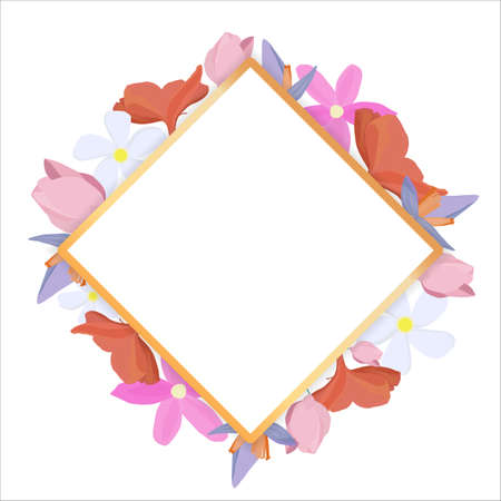 Tropical flowers around a white frame copy space. Bright abstract background for banner, flyer or cover with copy space for text or emblem