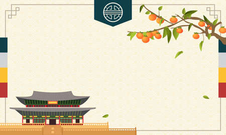 Illustration pour Korean Harvest Festival (Chuseok or Hangawi) Background Vector, Persimmon tree with traditional Korean palace - image libre de droit
