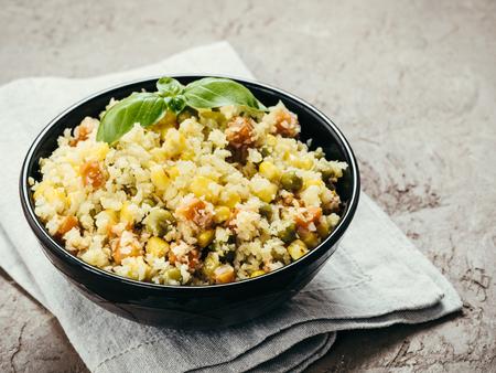 Foto de cauliflower rice with vegetables. copy space - Imagen libre de derechos
