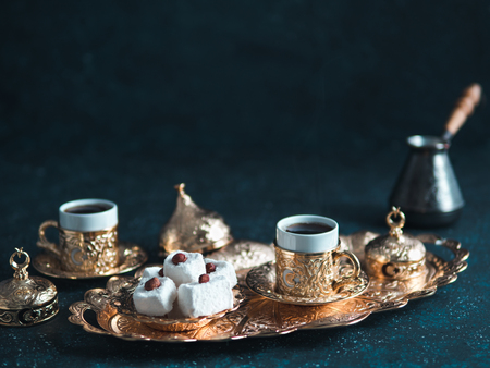 Photo for Turkish delight and turkish coffee - Royalty Free Image