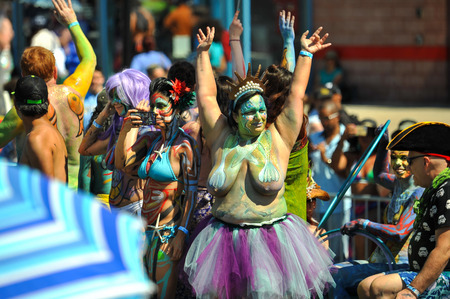 Photo for NEW YORK, NY - JUNE 16: People participate in the 36th annual Mermaid Parade in Coney Island on June 16, 2018 in New York City. - Royalty Free Image