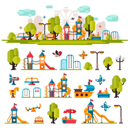 Illustration for Kids Playground drawn in a flat style. Kids Playground on isolated background. Kids Playground outdoors. Kids Playground elements on white background. Childrens Playground. - Royalty Free Image