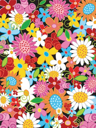summer flower power (vector) - illustrated object / background