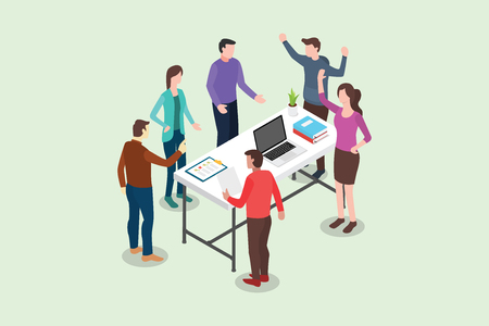 Illustration pour isometric stand up or standing meeting concept for modern agile methodology workflow daily routines - vector illustration - image libre de droit