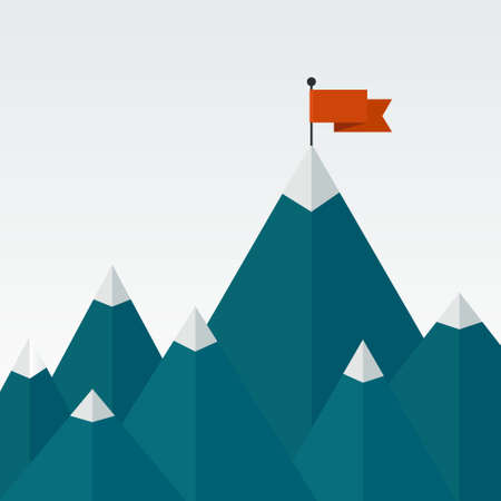 Illustration pour Vector illustration of success - top of the mountain with red flag. Flat illustration of a victory, goal achievement, getting things done. - image libre de droit