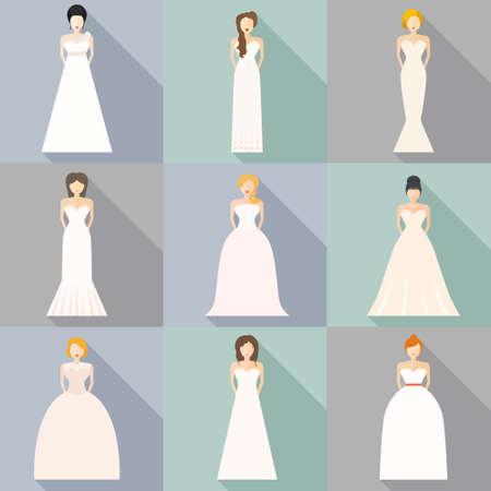 Ilustración de Brides in different styles of wedding dresses made in modern flat vector style. Choose your perfect wedding dress for your body type. Bridal vector. - Imagen libre de derechos