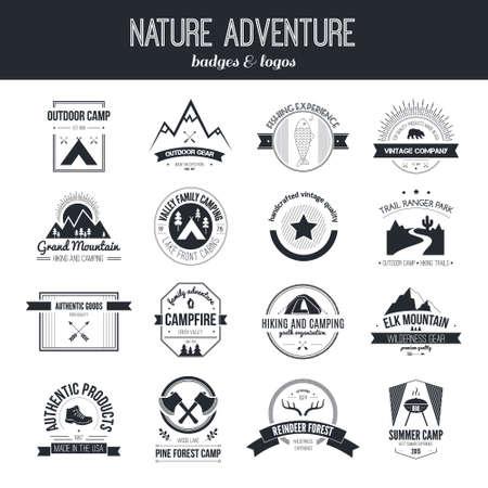 Illustration pour Set of vintage camping and outdoor activity  - image libre de droit