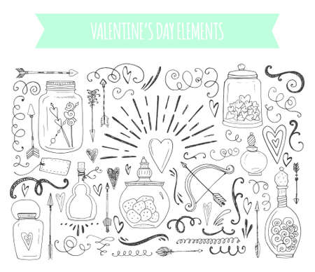 Foto de Romantic elements. Hand drawn typography, sketched jars and hearts and other objects - Imagen libre de derechos