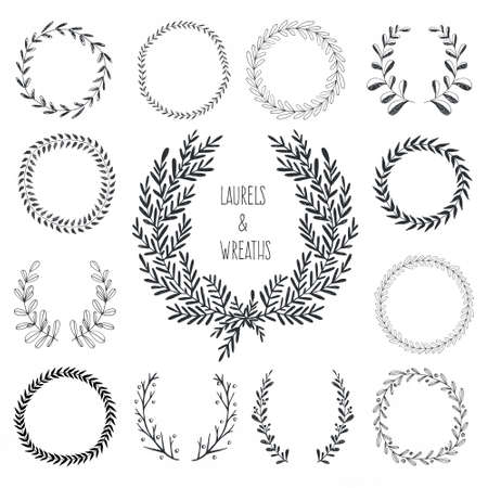 Illustration pour Collection of hand drawn laurels and wreaths - image libre de droit