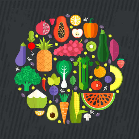 collection of fresh healthy fruits and vegetables made in flat style