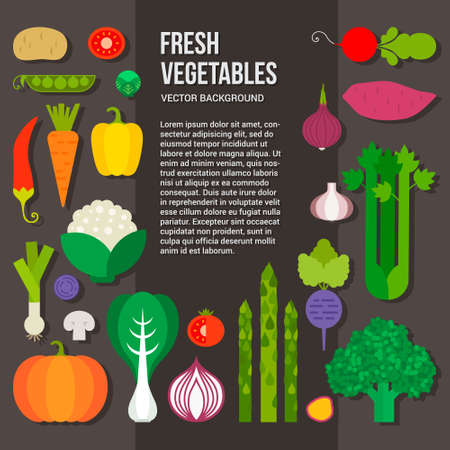 Photo for Fresh vegetables vector concept. Healthy diet flat style illustration. Isolated green food, can be used in restaurant menu, cooking books and organic farm labels. - Royalty Free Image