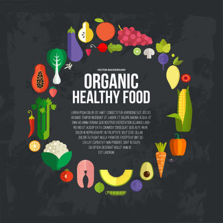 Illustration for Diet and organic food template. Healthy eating vector concept with flat fruits, vegetables and copyspace. Great for healthy magazines, cooking web sites and restaurant newsletters. - Royalty Free Image