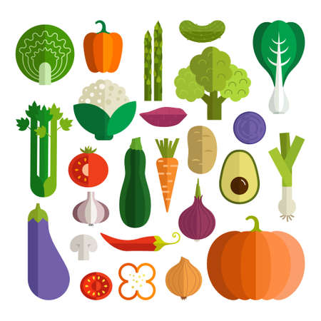 Photo for Set of fresh healthy vegetables made in flat style - Royalty Free Image