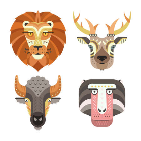 Ilustración de Animal portraits made in unique geometrical flat style. Vector heads of lion, deer, buffalo, monkey. Isolated icons for your design. - Imagen libre de derechos