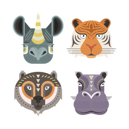 Illustration for Animal portraits made in unique geometrical flat style. Vector heads of  rhino, tiger, bear, hippopotamus. Isolated icons for your design. - Royalty Free Image