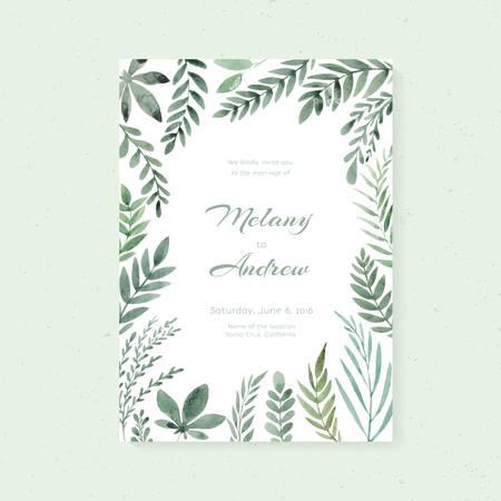 Photo pour Elegant wedding card design with hand painted watercolor flowers - image libre de droit