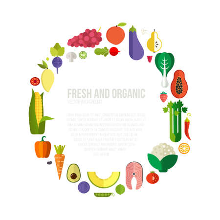 Photo for Diet and organic food template. Healthy eating vector concept with flat fruits, vegetables and copyspace. Great for healthy magazines, cooking web sites and restaurant newsletters. - Royalty Free Image