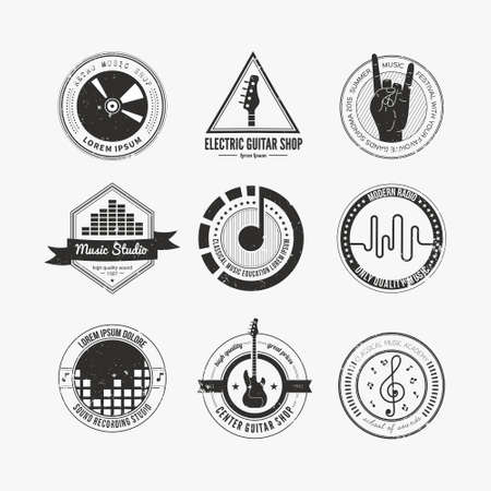 Illustration pour Collection of music logos made in vector. Recording studio labels hipster style. Podcast and radio badges with sample text. Vintage t-shirt design elements with musical elements - guitar, horns. Sound production logotypes. - image libre de droit