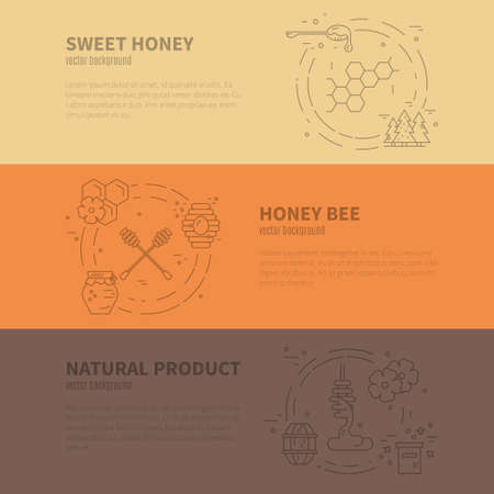 Illustration pour Modern collection of vector banners with honey related items and sample text. Perfect banner for advertising, packaging and other design. - image libre de droit