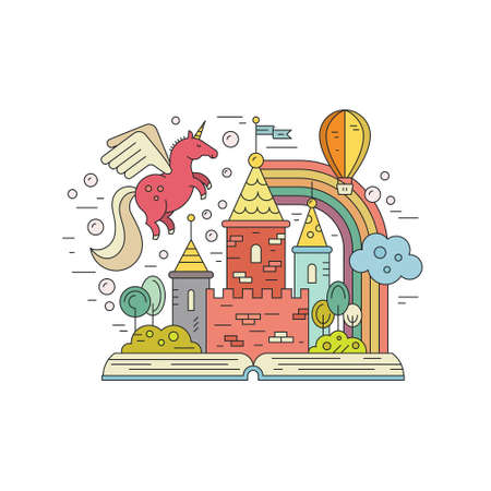 Illustration pour Vector imagination concept - open book with kingdom, unicorn, rainbow and balloon. Creative thinking concept. Colorful illustration of fantasy world and imagination. - image libre de droit