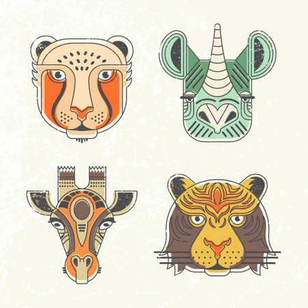 Illustration for Animal portraits made in unique geometrical flat style. Vector heads of cheetah, giraffe, rhino, tiger. Isolated icons for your design. - Royalty Free Image