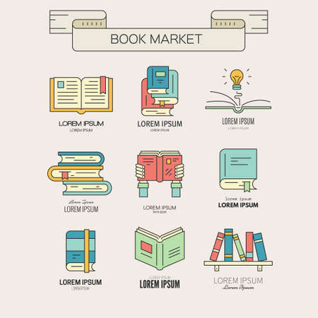 Illustration pour Book market or book festival illustration - collection of different books. Open book,book in hands, book with lightbulb, bookshelf made in vector. - image libre de droit