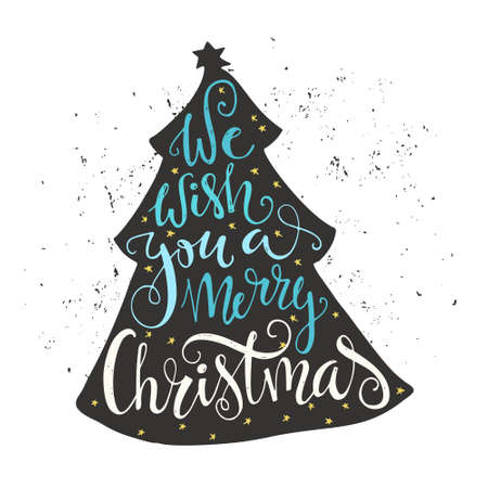 Illustrazione per We wish you a merry Christmas - quote in a christmas tree. Unique lettering. Vector art. Great design element for congratulation cards, banners and flyers. - Immagini Royalty Free