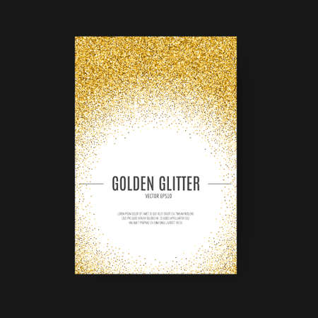 Illustration for Template for banner, flyer, save the date, birthday party or other invitation with gold background. Gold glitter card design. 100% vector design template - easy to use and edit. - Royalty Free Image