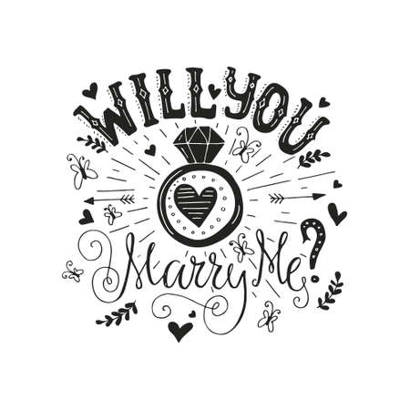 Illustration for Handdrawn poster ?Marry Me? with engagement ring, hearts and swirls. Engagement party invitation. Save the date card design. Love lettering with engagement ring. Romantic handdrawn lettering. Vector art. Valentine card. - Royalty Free Image