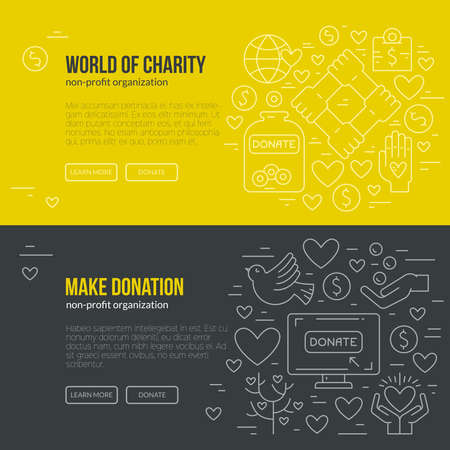 Illustration for Banner template with charity and donation icons and symbols. Line style vector illustration. Charity work hro image or web site design for non-profit. - Royalty Free Image