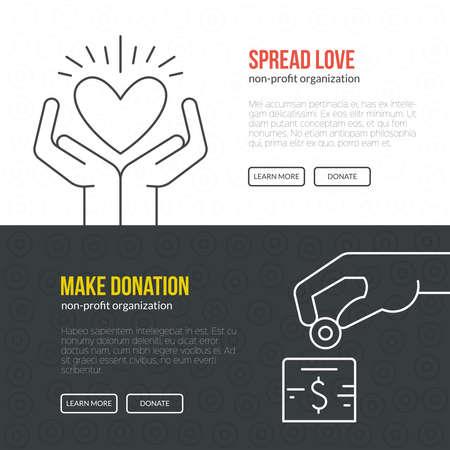 Illustration pour Banner template for fundraising event or non-profit organization. - image libre de droit