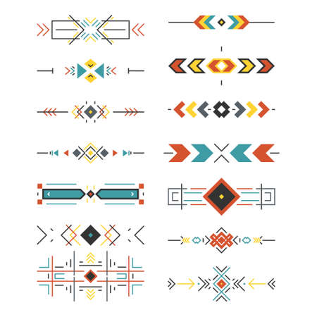 Illustration for Tribal border collection made in modern and clean vector. Line style art. - Royalty Free Image