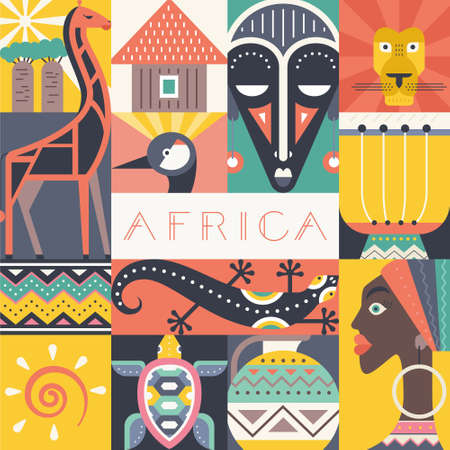Illustration pour Conceptual illustration of Africa with different african symbols made in flat vector style. Travel to africa banner template. Explore the world. Traditional african symbols isolated and easy to use. African design. - image libre de droit